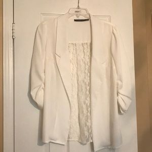 White lace collared shirt